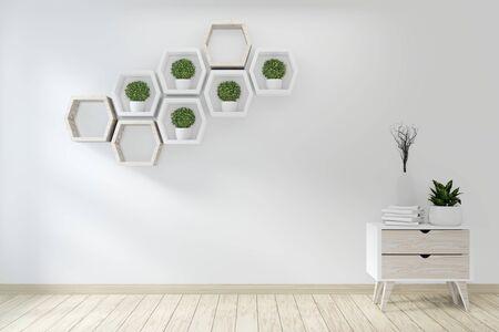 pomysł makiety szafki plakatowej drewnianej japońskiej konstrukcji i dekoracji roślin. Renderowanie 3D