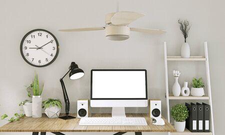 Simulacros de computadora con pantalla en blanco y decoración en la sala de oficina simulacros de fondo. Representación 3D