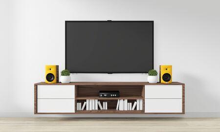 TV on Cabinet Wooden design in modern empty room Japanese - zen style,minimal designs. 3D rendering