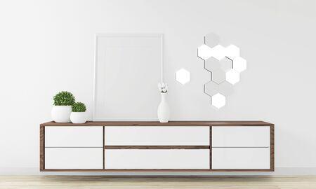 Cabinet Wooden design in modern empty room Japanese - zen style,minimal designs. 3D rendering Stockfoto
