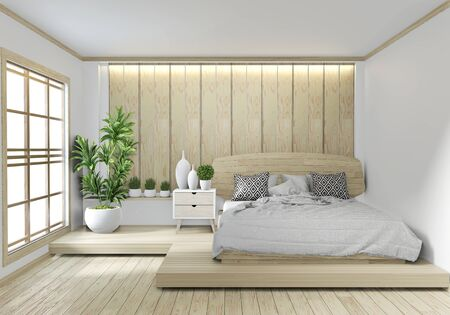 Bed room wooden Hotel japanese zen design with hiden light on white wall background.3D rendering