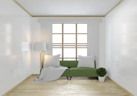 Mock up green sofa and decoration plants.3D rendering