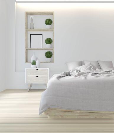 White bed room japanese design.3D rendering Stockfoto