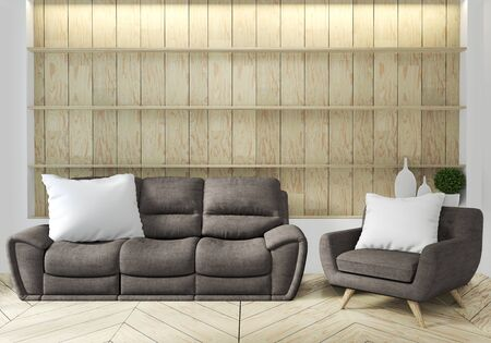 Sofa and armchair in japanese living room with empty wall. 3D rendering Stockfoto