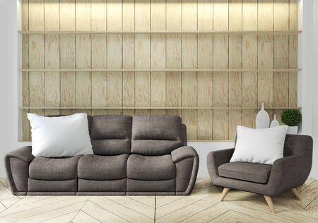 Sofa und Sessel im japanischen Wohnzimmer mit leerer Wand. 3D-Rendering Standard-Bild
