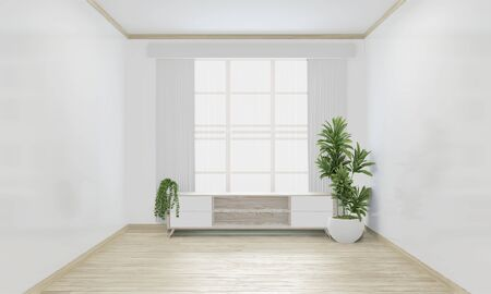 Cabinet woon japanese minimal design on empty room interior design.3D rendering Stock fotó