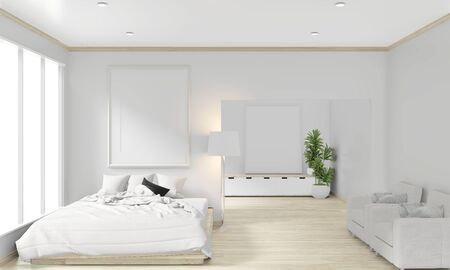 wooden bed, frame and decoration japanese style in zen bedroom minimal design. 3D rendering. 스톡 콘텐츠