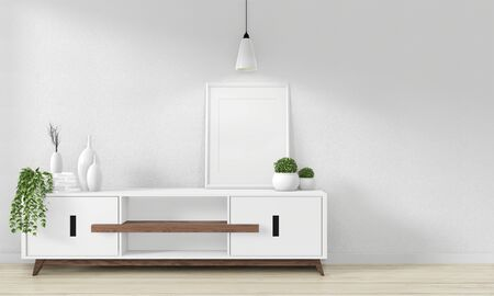 Cabinet Wooden design in modern empty room Japanese - zen style,minimal designs. 3D rendering Stock fotó