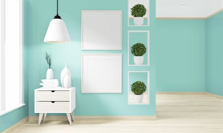 Mock up empty room mint wall on floor wooden interior design.3D rendering
