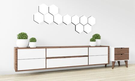 Hexagon tile lamp on wall and wooden cabinet minimal design.3D rendering