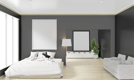 wooden bed, frame and decoration japanese style in zen bedroom minimal design. 3D rendering. 写真素材