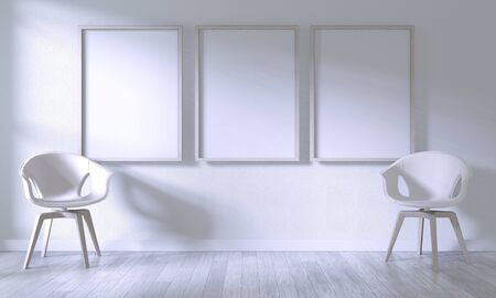 Mock up poster frame with white chair on room white wall on white wooden floor.3D rendering