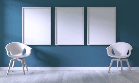 Mock up poster frame with white chair on room dark blue wall on white wooden floor.3D rendering