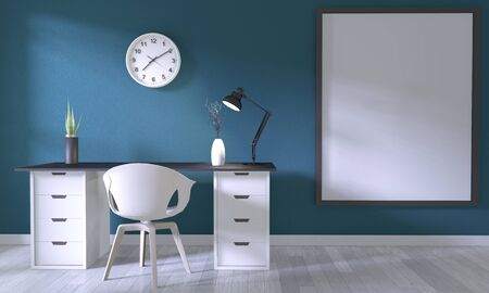 Mock up poster office with white comfortable design and decoration on dark blue room and white wooden floor.3D rendering