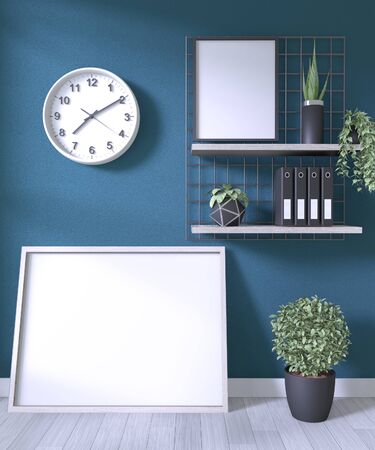 Mock up poster frame and decoration office in room dark wall on white wooden floor.3D rendering  版權商用圖片