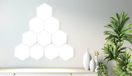 Hexagon tile lamp on wall and wooden cabinet minimal design on modern zen room japanese style.3D rendering
