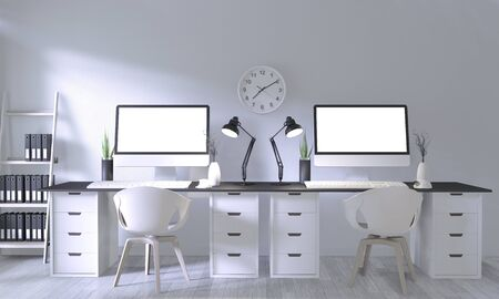 Mock up poster office with white comfortable design and decoration on white room and white wooden floor.3D rendering