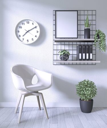 white chair and decoration office in white room background .3D rendering 版權商用圖片