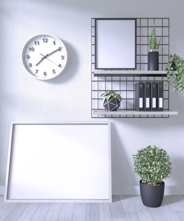 Mock up poster frame and decoration office in room white wall on white wooden floor.3D rendering