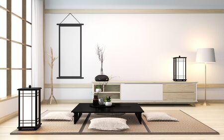 Interior de la sala zen con mesa baja y almohada en tatami en sala de madera de estilo japonés. Representación 3D Foto de archivo