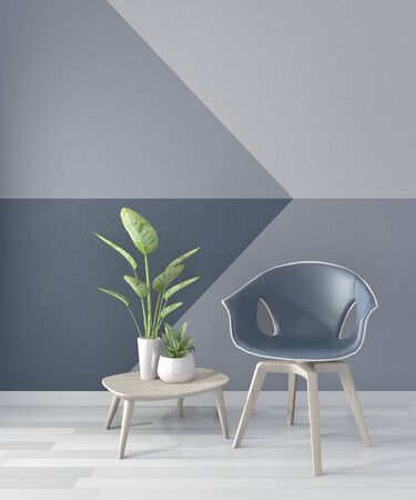 Ideas of living room blue Geometric Wall Art Paint Design color full style on wooden floor.3D rendering