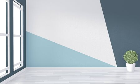 Ideas of empty room Geometric Wall Art Paint Design color full style on wooden floor.3D rendering