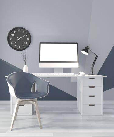 Ideas of office room blue Geometric Wall Art Paint Design color ful on wooden floor.3D rendering Stok Fotoğraf