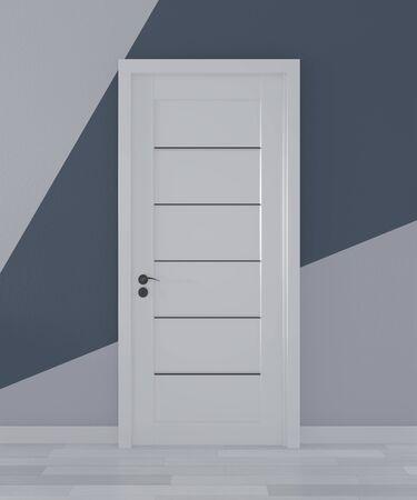 Ideas of door in room Geometric Wall Art Paint Design color ful on wooden floor.3D rendering