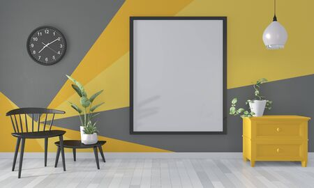 Ideas of black and yellow room Geometric Wall Art Paint Design color full style on wooden floor.3D rendering Stock Photo