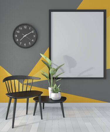 Ideas of black and yellow room Geometric Wall Art Paint Design color full style on wooden floor.3D rendering Stok Fotoğraf