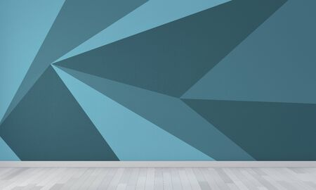 Ideas of blue empty room Geometric Wall Art Paint Design color full style on wooden floor.3D rendering