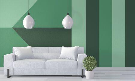 Ideas of green room Geometric Wall Art Paint Design color full style on wooden floor.3D rendering Stok Fotoğraf