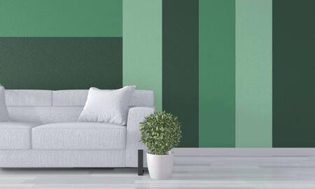 Ideas of green room Geometric Wall Art Paint Design color full style on wooden floor.3D rendering Stock Photo