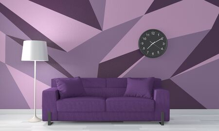Ideas of purple room Geometric Wall Art Paint Design color full style on wooden floor.3D rendering Stock Photo