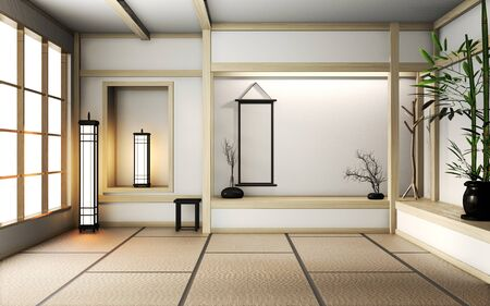 Room very zen style with decoration japanese style on tatami mat.3D rendering Stok Fotoğraf