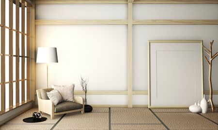Mock up poster frame on room very zen with armchair on tatami floor.3D rendering 스톡 콘텐츠