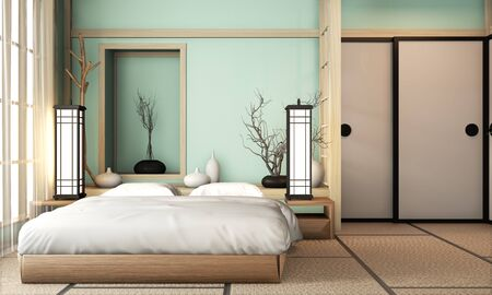 Ryokan light blue bed room very japanese style with tatami mat floor and decoration.3D rendering Stock Photo - 130665289
