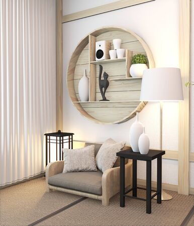 Zen modern room japanese interior with shelf wooden design idea of room japan and tatami mat.3D rendering Фото со стока