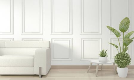 Empty modern contemporary room and design wall with molding, sofa armchair and decoration plants.3D rendering