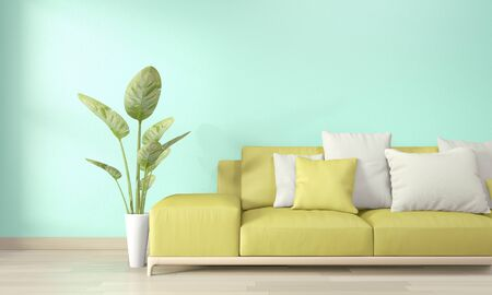 Mock up poster frame in living room with yellow sofa and decoration plants on floor wooden.3D rendering