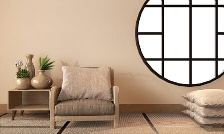 Room japanese style with empty wall background on tatami floor. 3D rendering