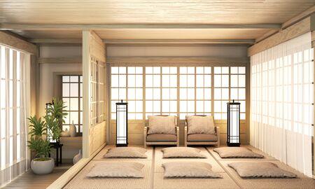 Big Ryokan, room interior design zen japanese style and wooden room design minimal. 3D rendering