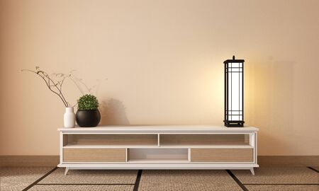 Wooden cabinet tv japanese style on room zen style and tatami mat. 3D rendering Stok Fotoğraf
