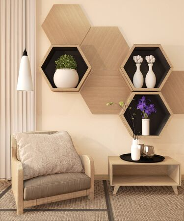 Wooden Hexagon shelf and wooden hexagon tiles design on japan ryokan design tatami mat and wooden wall with decoration japanese style. 3D rendering
