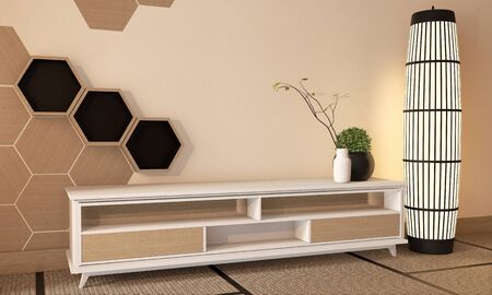 wooden cabinet tv with wooden hexagon tiles on wall and tatami mat floor room japanese style. 3D rendering
