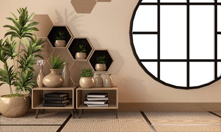 wooden hexagon shelf and tiles on wall and wooden cabinet and wooden vase decoration on tatami mat floor. 3D rendering 版權商用圖片