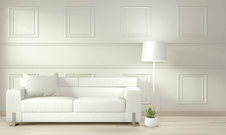 White modern living room mock up interior design. 3D rendering Banque d'images - 131521013