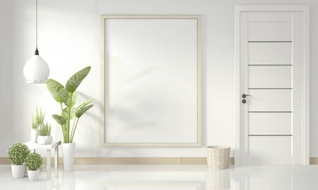 Interior poster mockup with wooden frame standing on wood floor and decoration plants. 3D rendering 版權商用圖片