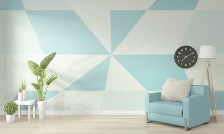 Ideas of light blue and white living room Geometric Wall Art Paint Design color full style on wooden floor. 3D rendering