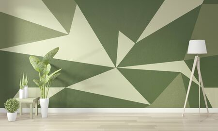 Ideas of living green room Geometric Wall Art Paint Design color full style on wooden floor. 3D rendering